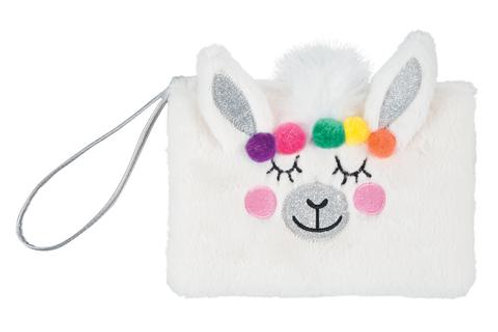 Llama Fuzzy Wristlet with 4 Color Change Lip Balms