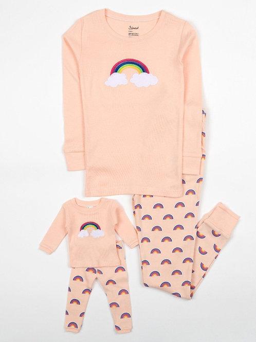 Matching Girl and Doll Cotton Retro Rainbow Pajamas - Rainbow Retro Pink