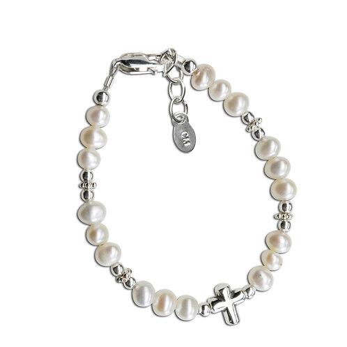 Emily - Sterling Silver Pearl Cross Bracelet