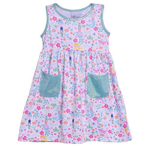UPF 50+ Dahlia Sleeveless Tee Dress w/ Pockets | Mermaid Lagoon