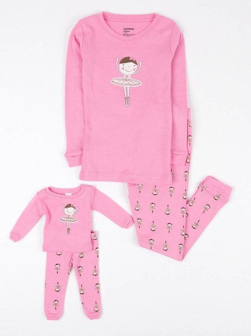 Matching Girl and Doll Ballerina Pajamas - Pink