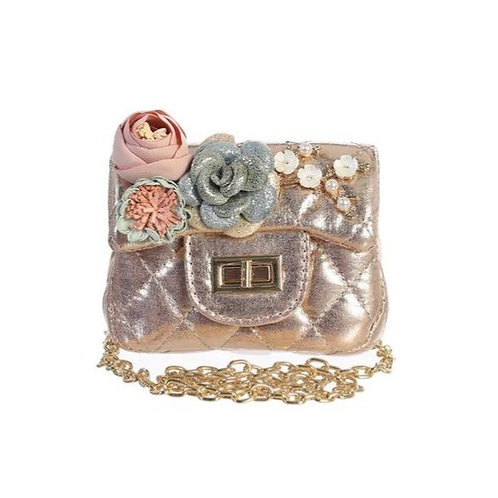 Metallic Mini Purse with Flower in Rose Gold