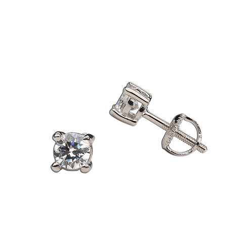 Sterling Silver Clear CZ Stud Earrings