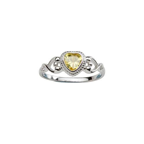 Sterling Silver Heart Birthstone Ring November