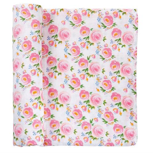 Pink Rosebud Muslin Swaddle Blanket