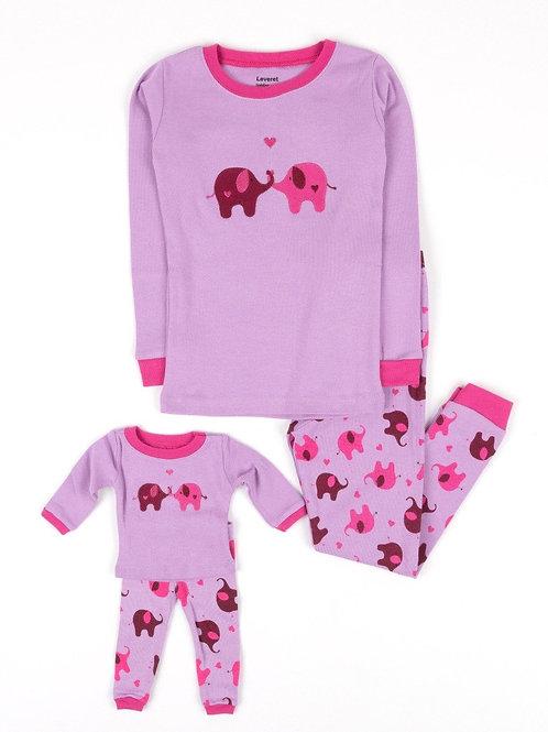 Matching Girl and Doll Zoo Animals Pajamas - Elephant Pink