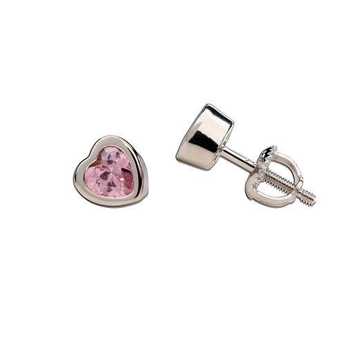 Sterling Silver Pink CZ Heart Earrings