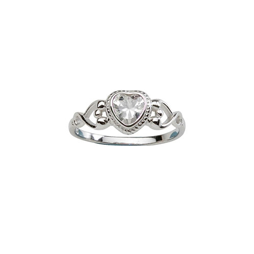 Sterling Silver Heart Birthstone Ring April