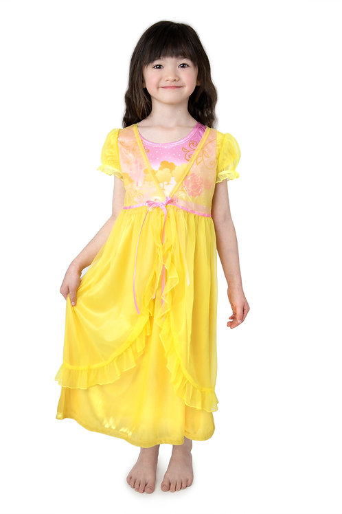 Yellow Beauty Glam Nightgown with Sheer White Robe