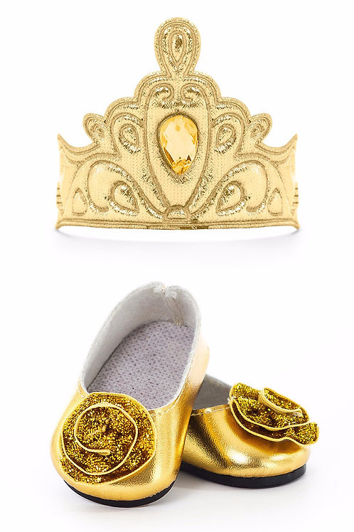 """18"""" Doll Shoes and Crown Gold"""