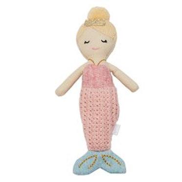 Mud-Pie Mermaid Doll Rattle Toy Pink Tail