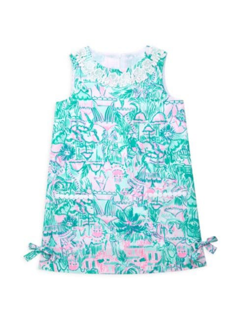 Little Lilly Classic Shift Dress Bright Agate Green Colorful Camelflage