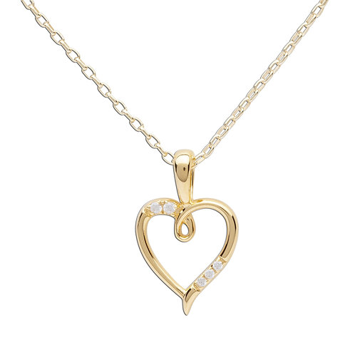 14K Gold Plated Children's Open Heart Necklace