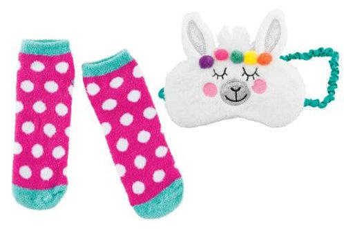 Llama Fuzzy Sleep Mask and Socks