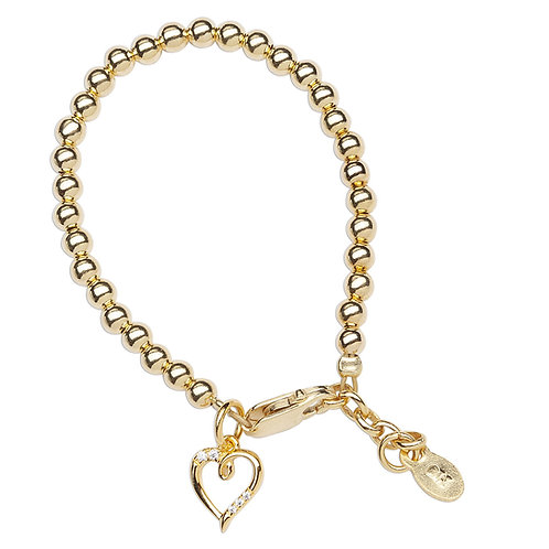Aria ~ 14K Gold Plated Bracelet with Heart Charm