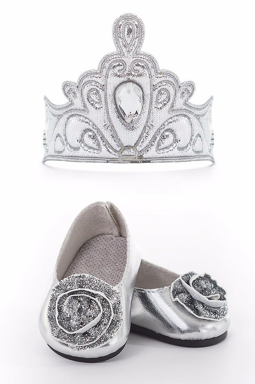 """18"""" Doll Shoes and Crown Silver"""