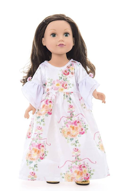 "18"" Doll White Floral Beauty Dress"
