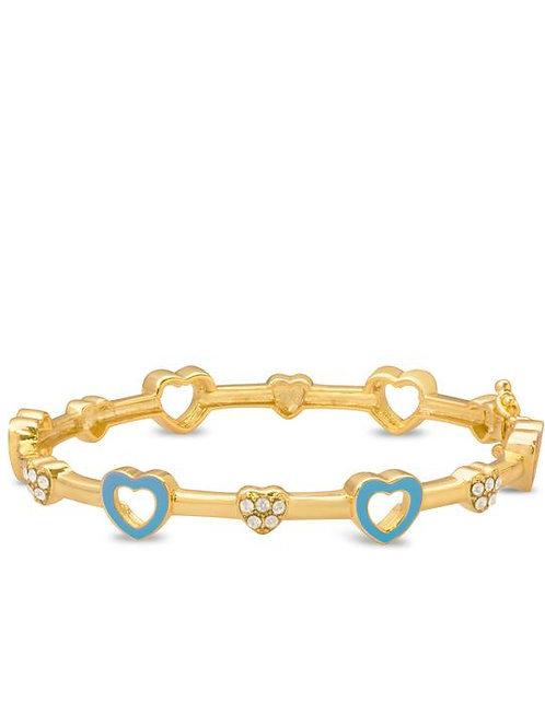 18K Gold Plated Children's Open Heart Bracelet Blue