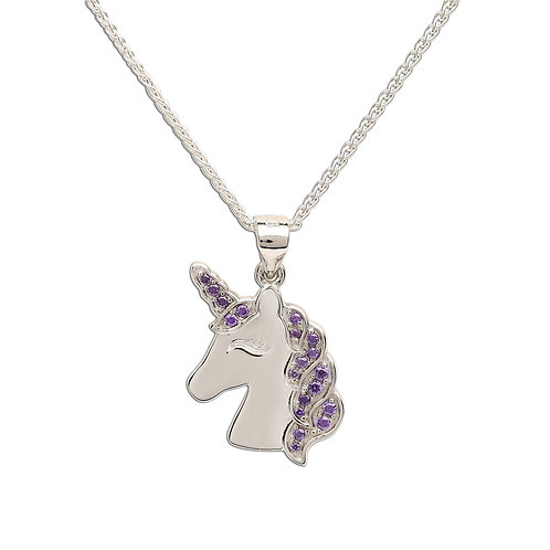 Sterling Silver Lavender Unicorn Necklace