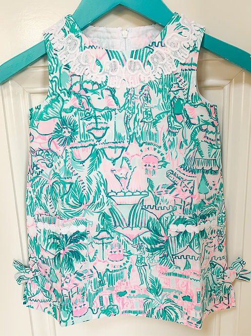 Baby Lilly Classic Shift Dress w Bloomers Bright Agate Green Colorful Camelflage