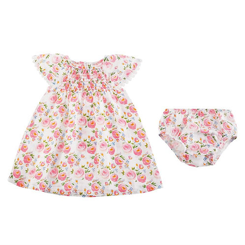 Smocked Rosebud Muslin Dress & Bloomer Set