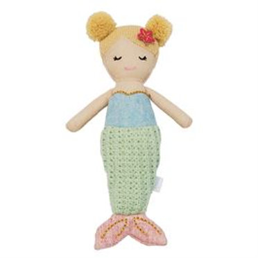 Mud-Pie Mermaid Doll Rattle Toy Green Tail