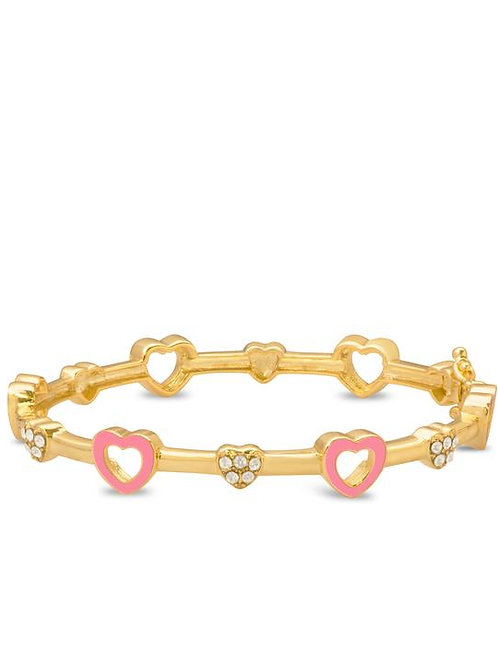 18K Gold Plated Children's Open Heart Bracelet Pink