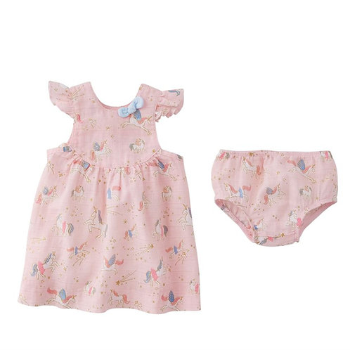 Fairy Unicorn Muslin Dress and Bloomer Set