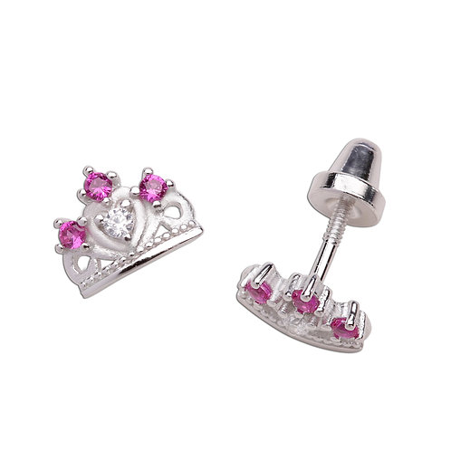 Sterling Silver Princess Tiara Earrings