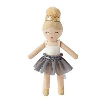 Mud-Pie Ballerina Doll Rattle Toy Gray Tutu