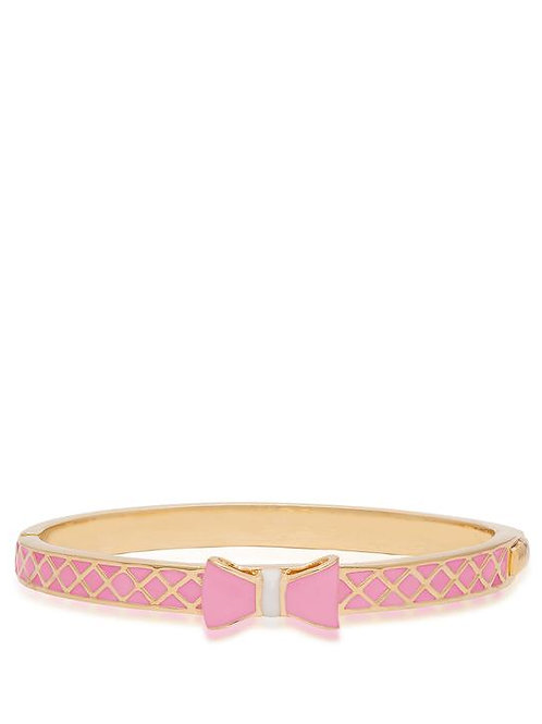 18K Gold Plated Children's Bow Bangle Bracelet Pink