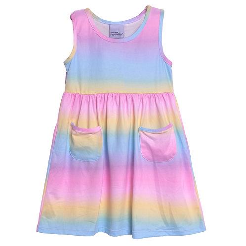 UPF 50+ Dahlia Sleeveless Tee Dress w/ Pockets | Rainbow Sherbet Ombre