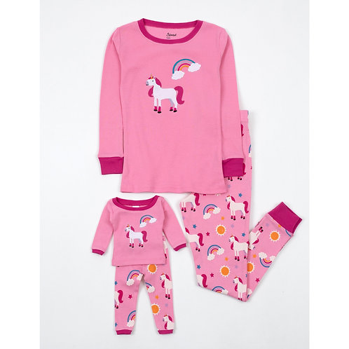 Matching Girl and Doll Rainbow Unicorn Pajamas - Unicorn Rainbow