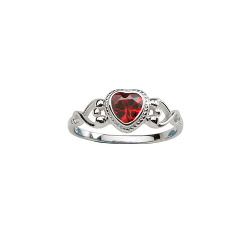 Sterling Silver Heart Birthstone Ring January