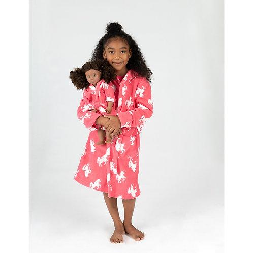 Girl and Doll Fleece Hooded Unicorn Robe - Unicorn Pink
