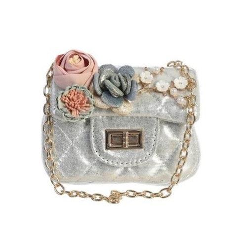 Metallic Mini Purse with Flower in Silver