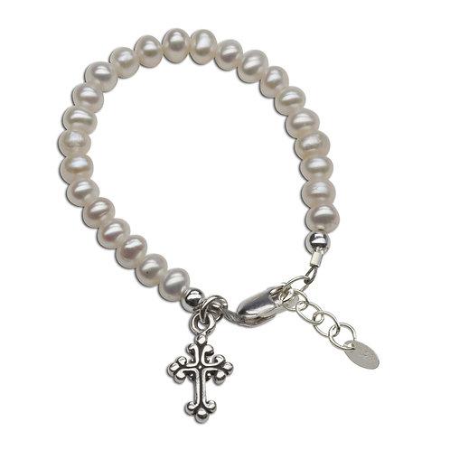 Olivia ~ Sterling Silver Pearl Cross Bracelet