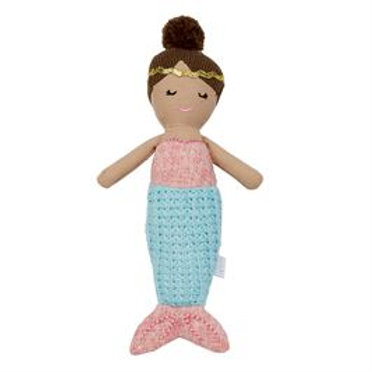 Mud-Pie Mermaid Doll Rattle Toy Blue Tail
