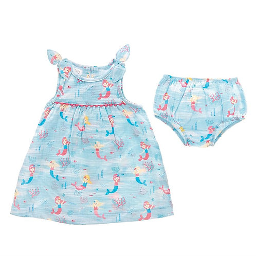 Blue Mermaid Dress and Bloomer Set