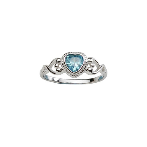 Sterling Silver Heart Birthstone Ring March