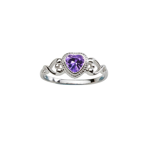Sterling Silver Heart Birthstone Ring February