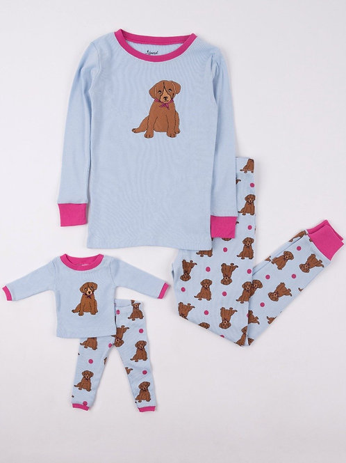 Matching Girl and Doll Pets Animals Pajamas - Puppy Blue Pink