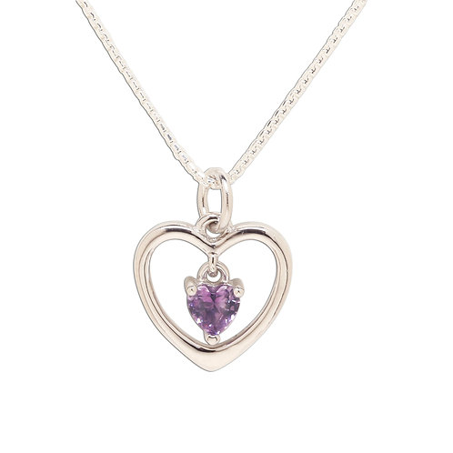 Sterling Silver Birthstone Dancing Heart Necklace