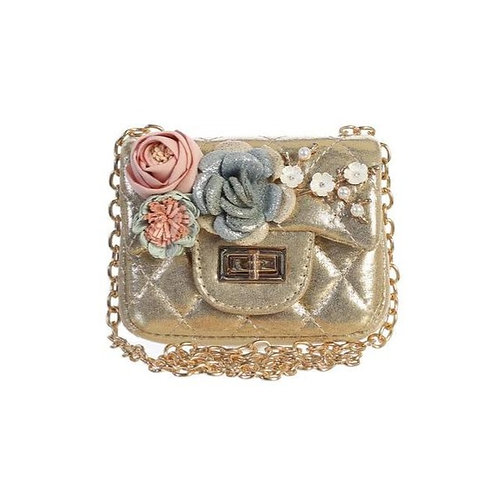 Metallic Mini Purse with Flower in Gold