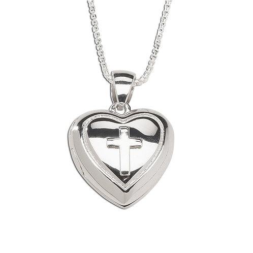 Sterling Silver Children's Heart Locket with Cross