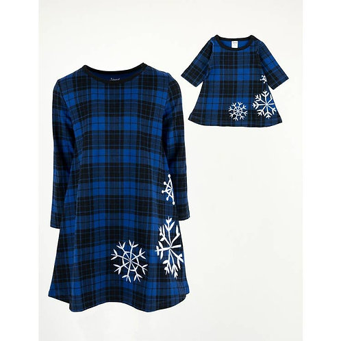 Matching Girl and  Doll Blue Plaid Cotton Dress - Snowflake
