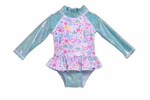 UPF 50+ Alissa Infant Ruffle Rash Guard Swimsuit | Mermaid Lagoon