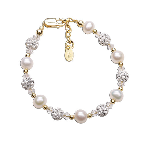 Charlotte ~ 14K Gold Plated Pearl Bracelet