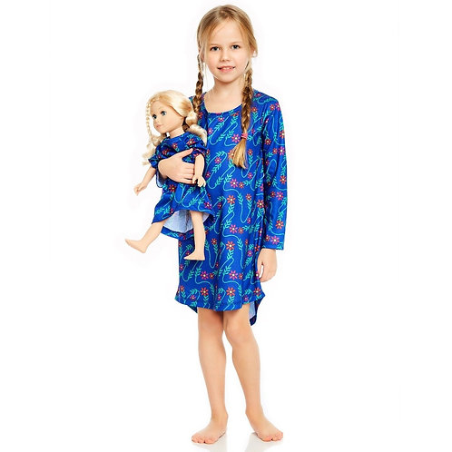 Matching Girl & Doll Nightgowns - Vine Blue