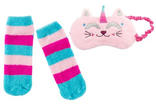 Caticorn Fuzzy Sleep Mask and Socks